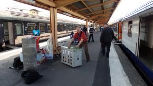 En gare de Lourdes, tout le monde s'affaire à une tâche très physique